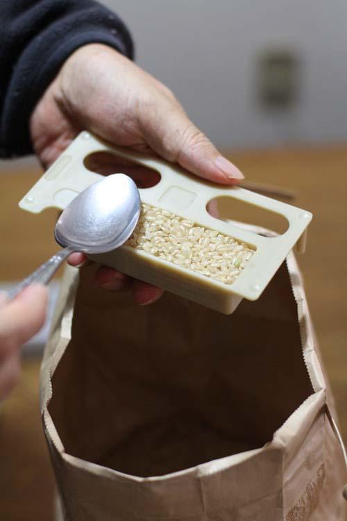 ヒノヒカリを実際に箱に詰めて放射能検査をします。